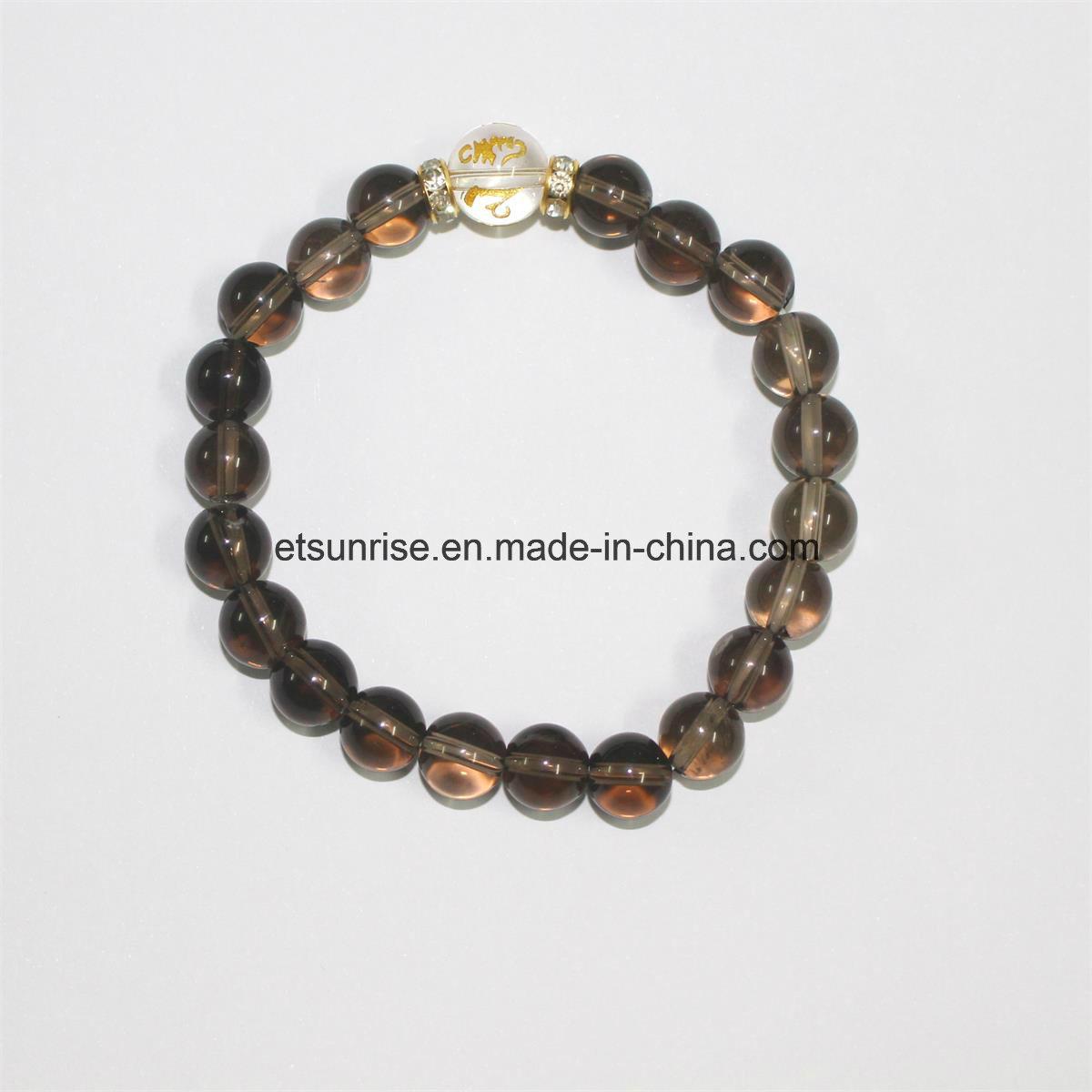 Fashion Natural Smoky Quartz Crystal Bracelet Bangles Jewelry