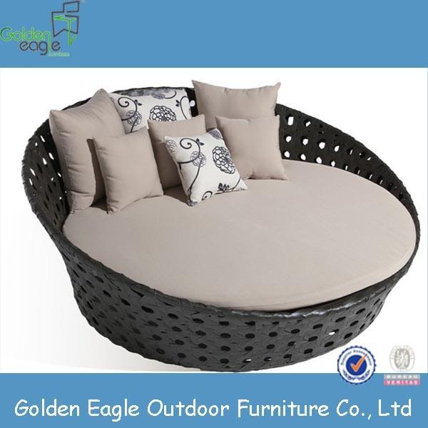 modern outdoor rattan garden furniture round sunbed with canopy china outdoor rattan garden