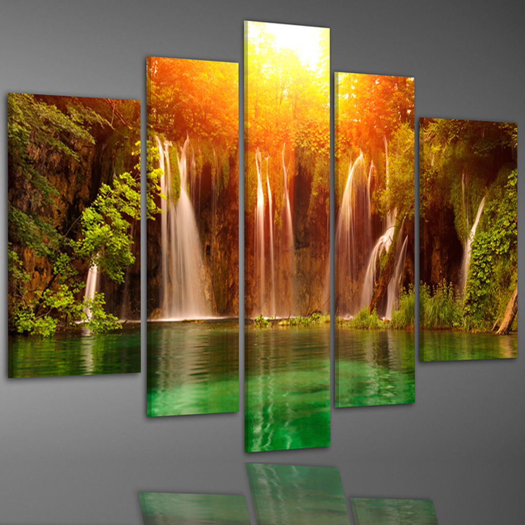 China waterfall in deep forest canvas prints home for Art painting for home decoration