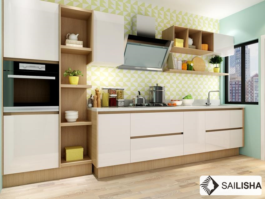 Norway Modern Home Hotel Furniture Island Wood Kitchen Cabinet