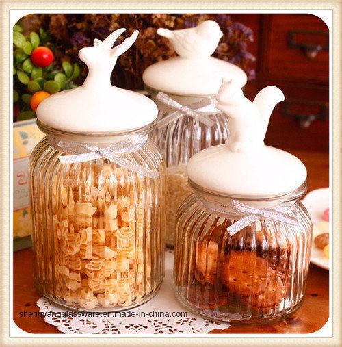 Glass Candy Storage Jar with Ceramic Lid