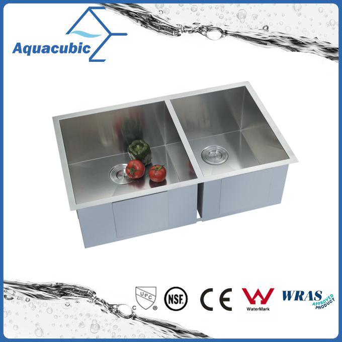 Upc Double Bowl Stainless Steel Handmade Kitchen Sink (ACS 3322A2)