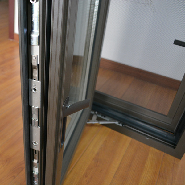 High Quality Thermal Break Aluminum Profile Casement Window with Multi Lock & Screen K03006