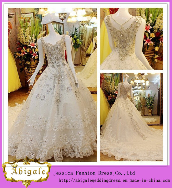 Luxury Ivory Floor Length A-Line Crystals Beaded Real Pictures Wedding Dress