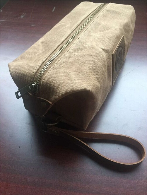 Custom high Quality Brown Waxed Canvas Dopp Kit Manufacturer in China