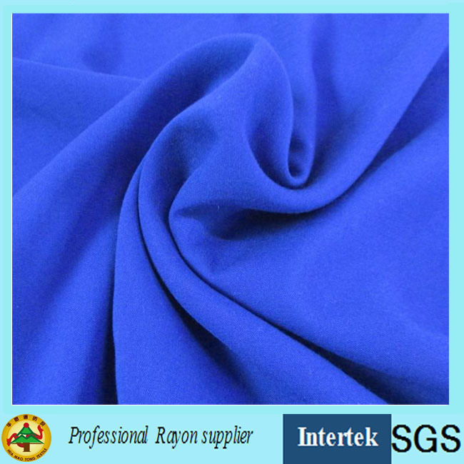 Blue Plain Rayon Fabric with Elastic for Women Garments