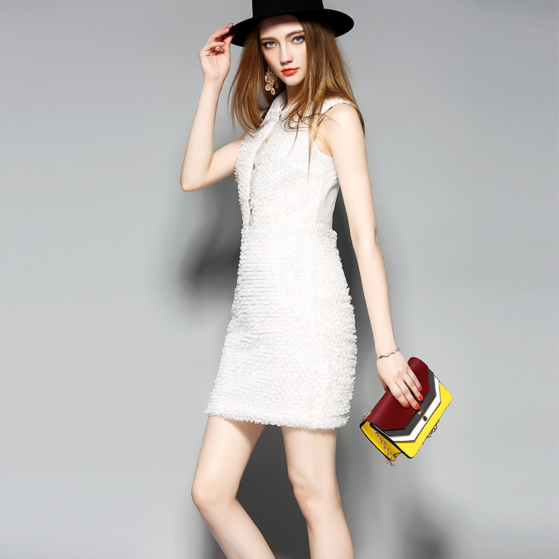 White Sleeveless 3D Modelling Women Pencil Dress