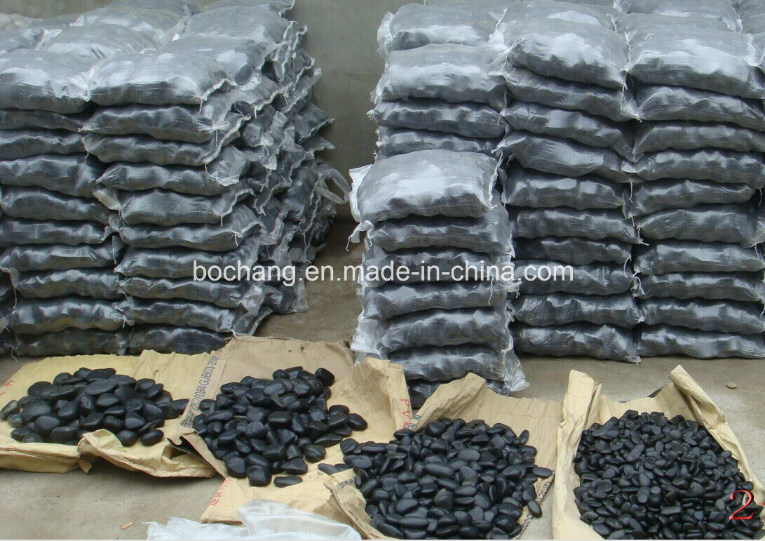 China landscaping natural stone white black pebbles with for Landscaping rocks pebbles