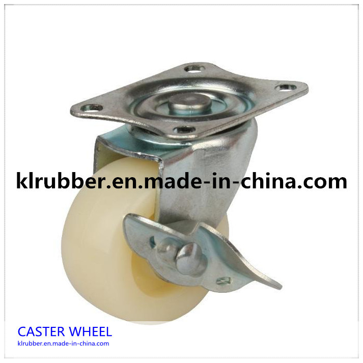 "3""-8""Inch White Nylon Wheel Caster with Brake"