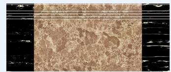 1200X280mm Coffee Silk Screen Glazed Polished Stair Tile (10483)