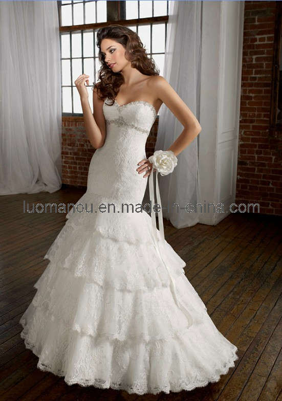 2012 Charming Mermaid Empire Lace Wedding Dresses Ball Gown Lmo007