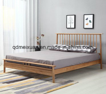 The Nordic White Oak Double Japanese Adult Bed All Solid Wood Bedroom Furniture Wholesale (M-X3637)