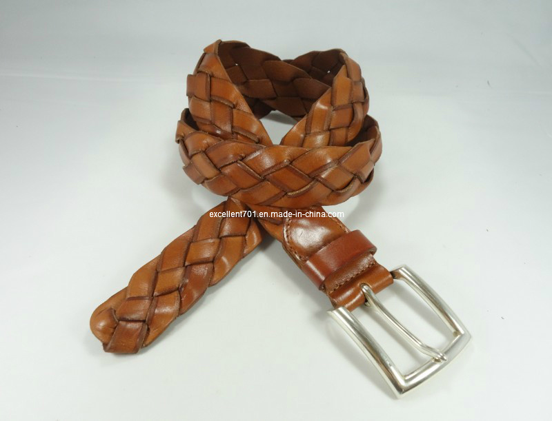 High-Quality Men′s Webbing Leather Belt with Pin Buckle (EUBL0683-40)