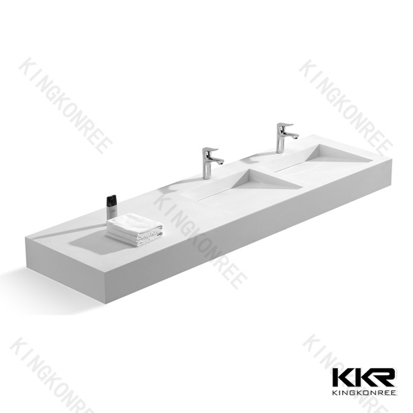China Custom White Solid Surface Stone One Piece Bathroom Vanity With Sink Kkr V1409103 Photos