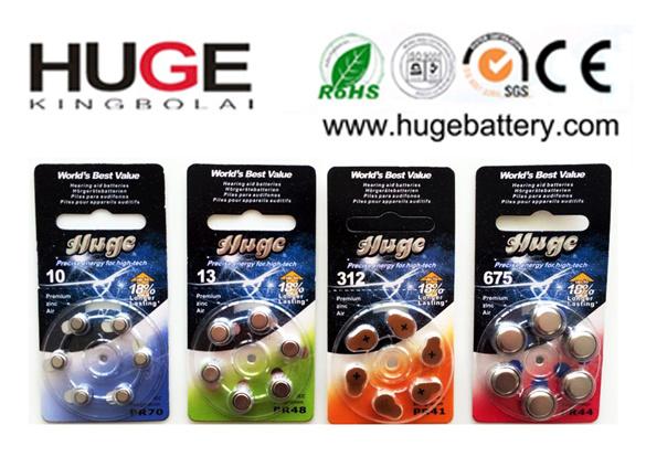 1.4V 6PCS/Blister Pack Zinc Air Battery (A10/A13/A312/A675)