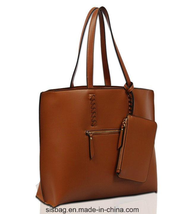 New Fashion Stitching Shopper Bag PU Weaving Tote Bag