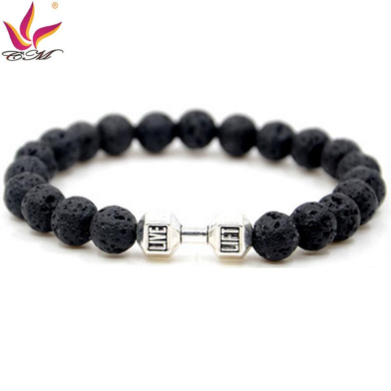 SMB009 Popular Black Color Lava Stones and Gold Color Metal Part Bracelet with Diamonds
