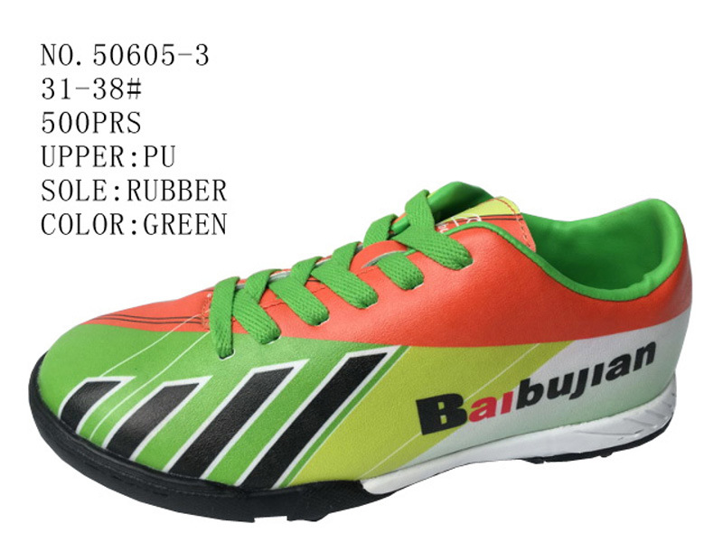 Three Color PU Children Soccer Shoes