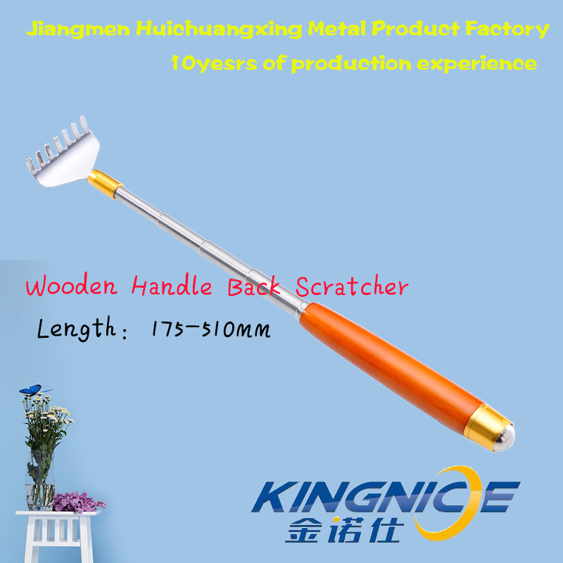 Stainless Steel High Quality Retractable Back Scratcher with Wooden Handle