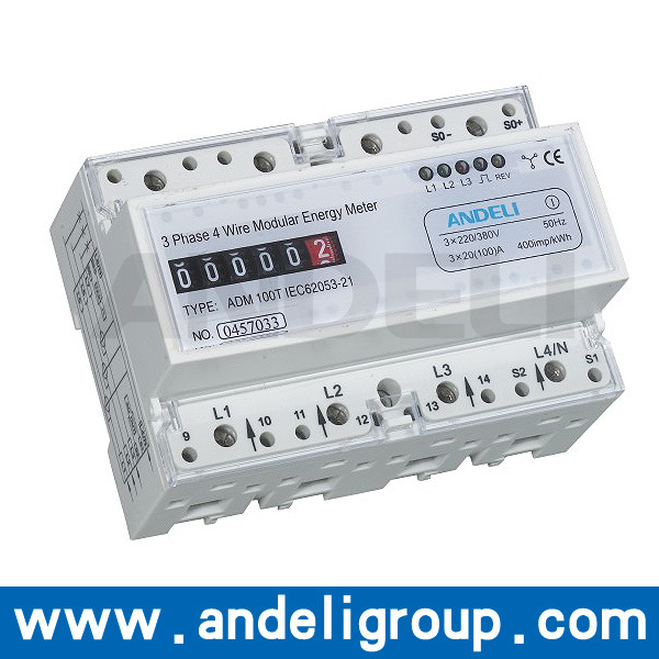Three Phase DIN-Rail Watt-Hour Meter (ADM100T)