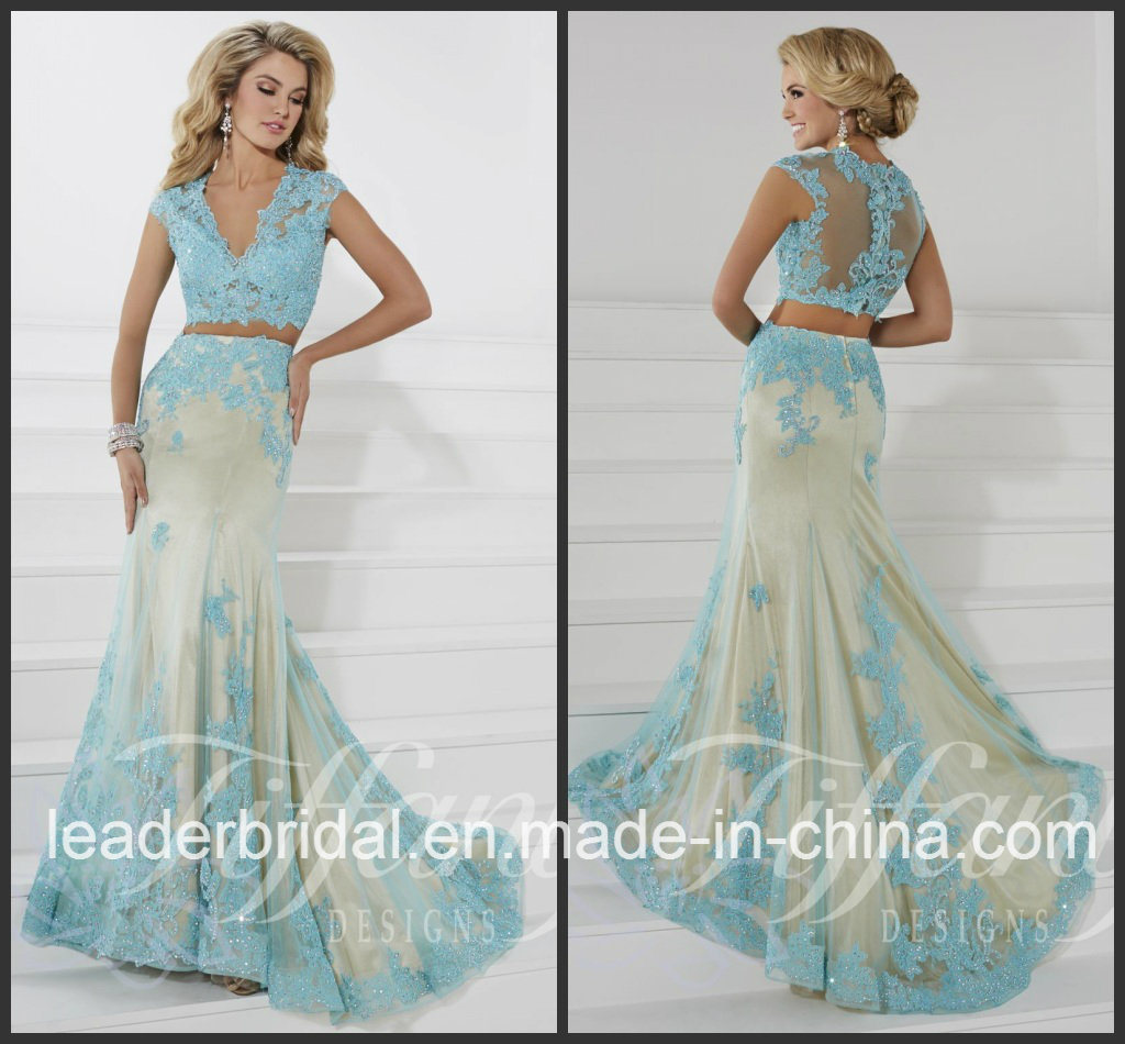 China Two Pieces Blue Party Prom Gowns Lace Evening Dress (P16103 ...