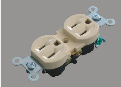 U33-1 ABS Ivory 250V/20A Standard Grounding, American Standard Electric Socket/Receptacle