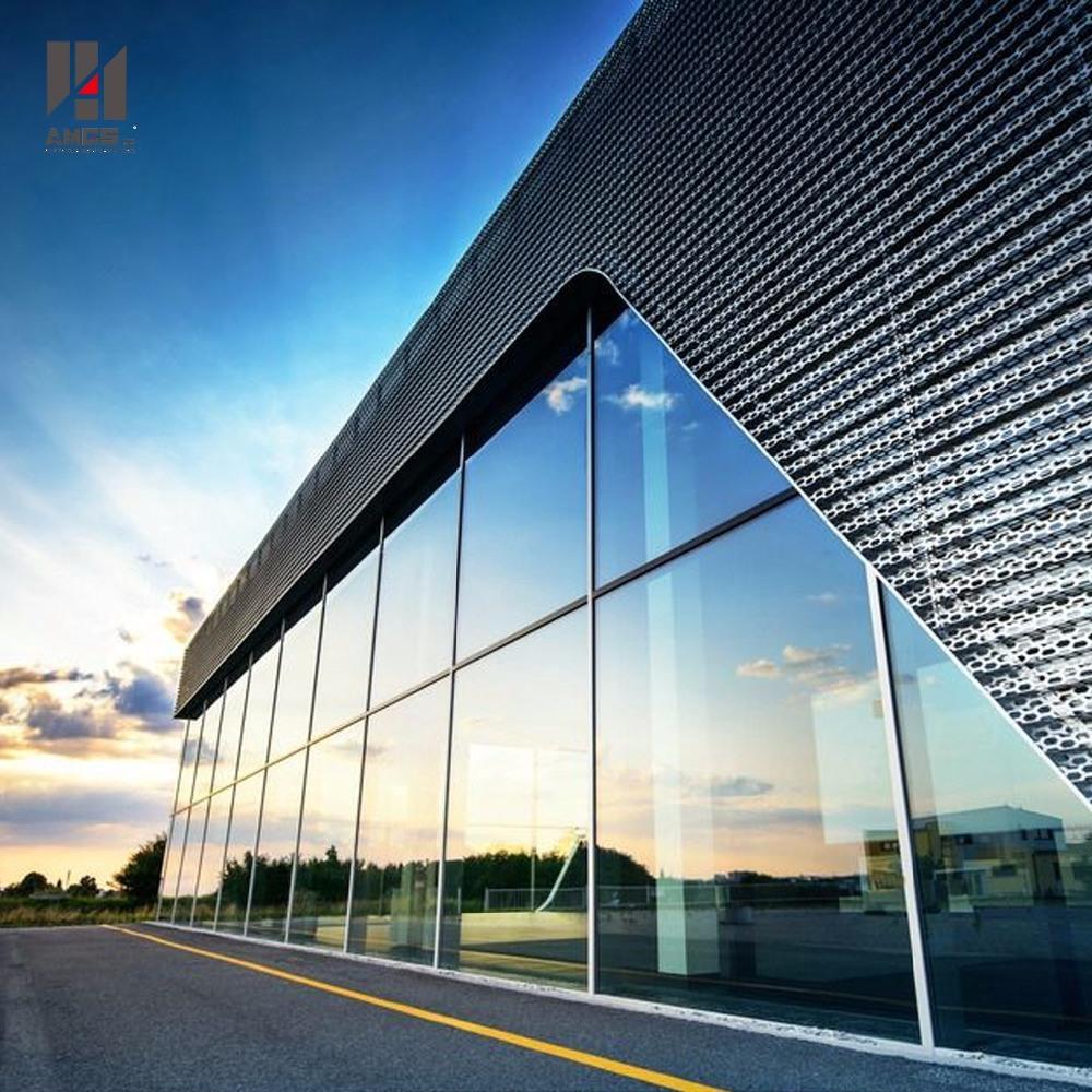 Exterior Facade Invisible Frame Reflective Blue Glass Curtain Wall Price