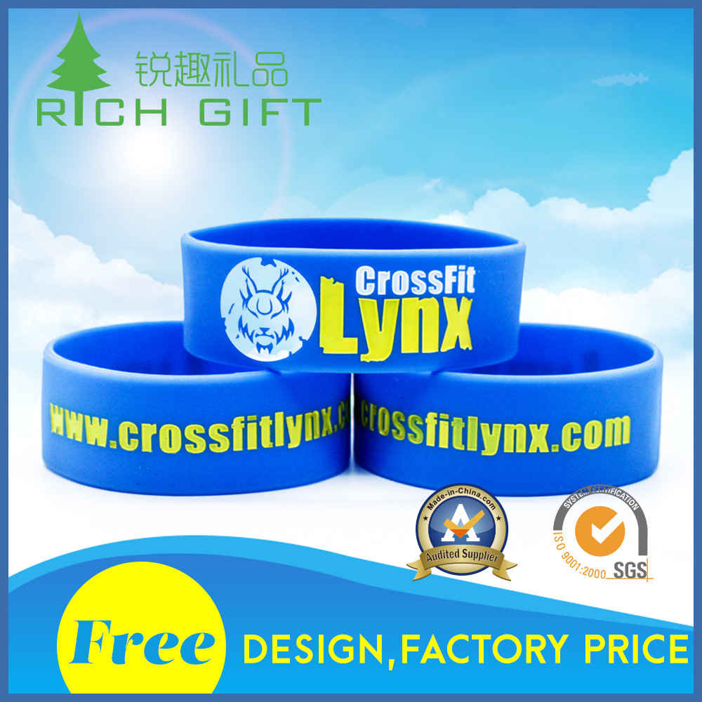 Promotional Energy Power Embossed Printing Silicon Wristband Bracelet for Gift