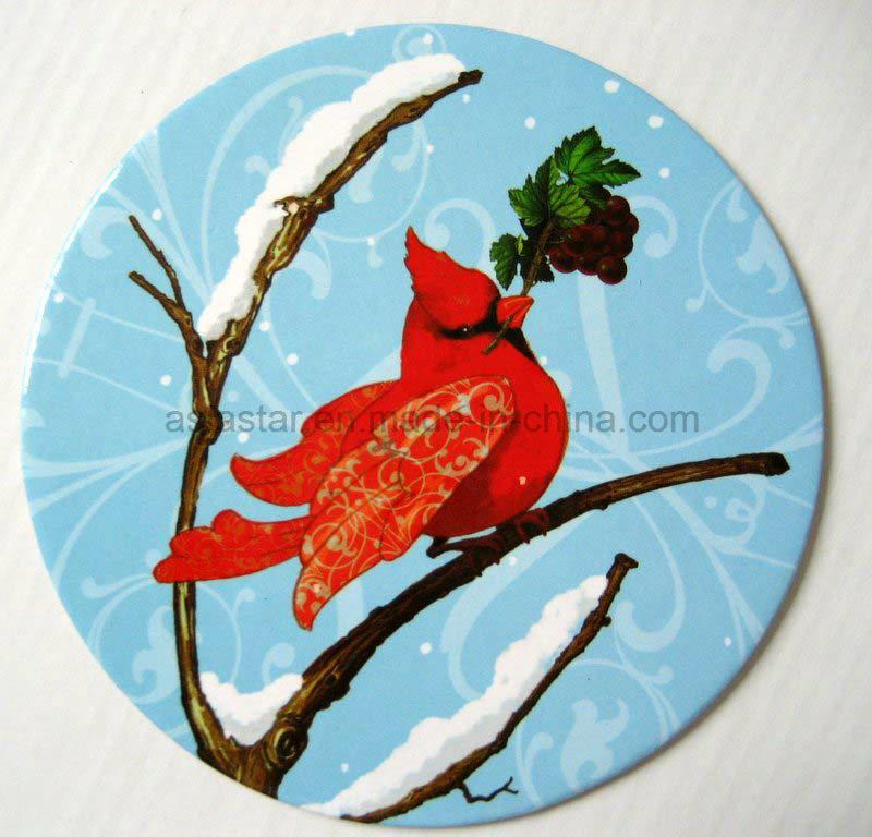 Round Winter Bird Paper Coaster (CB11)