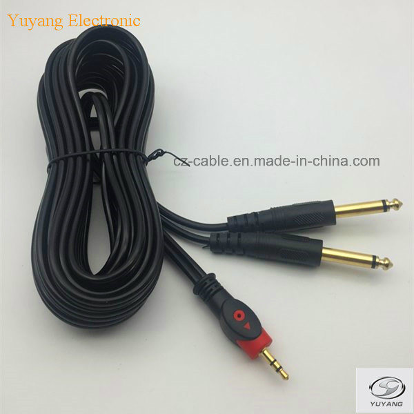 RCA/AV/TV/Audio Cable, 3.5mm/3.5 Stereo Plug to 2 6.35mm/6.35 6.5mm/6.5 Mono Plugs