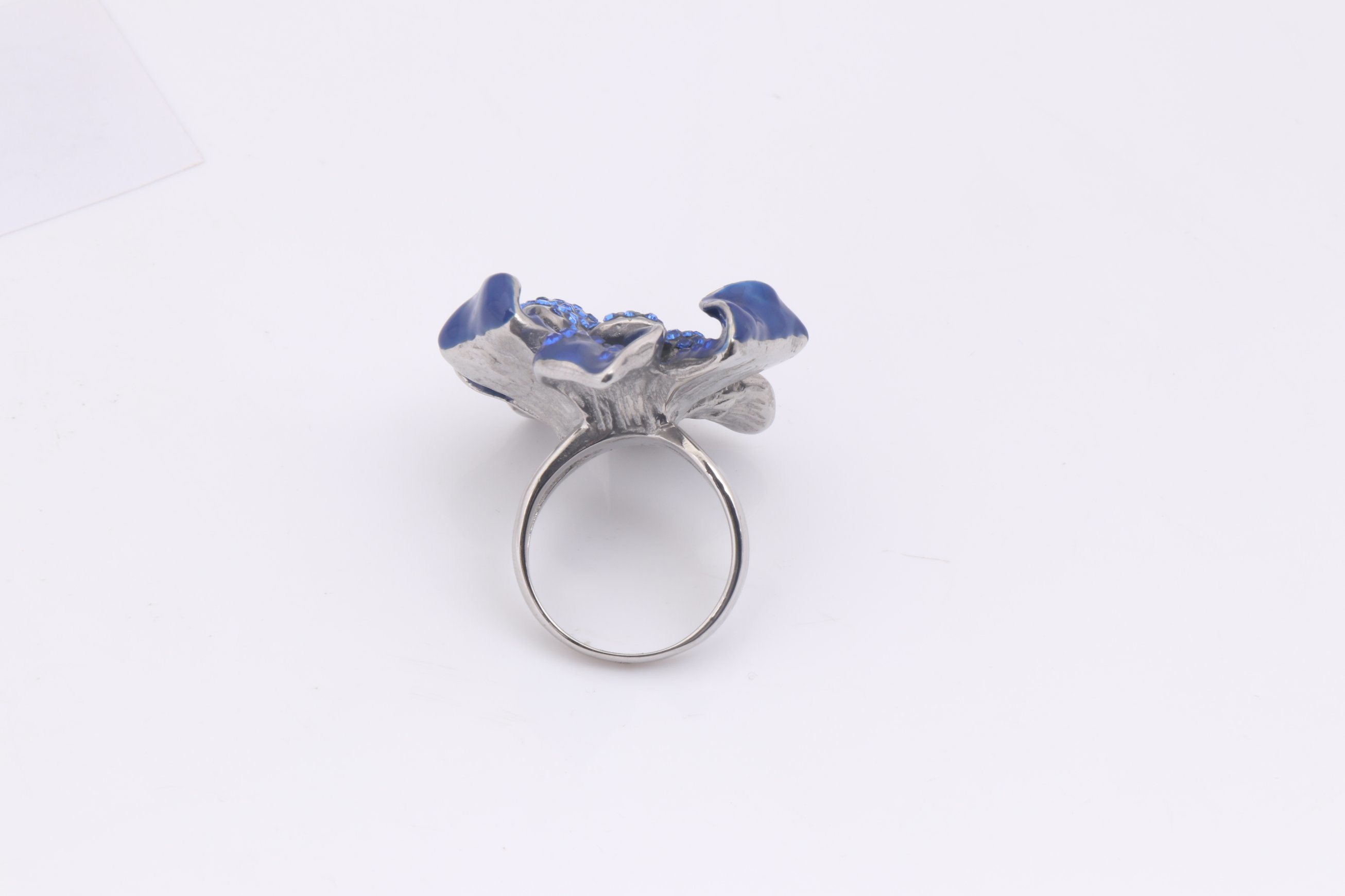 2017 Fashion Drop Oil blue Flower Ring for Women