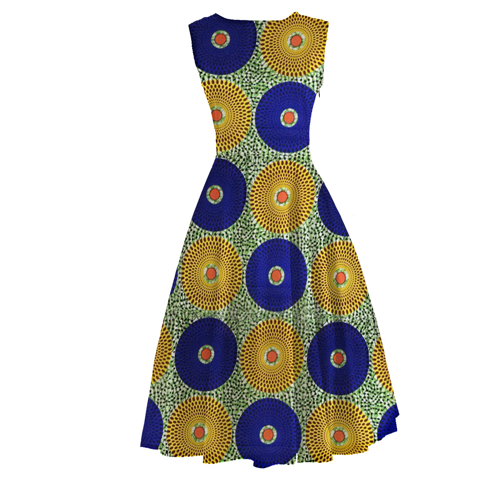 African Wax Women Clothes Ankara Floral Dresses Small Quatity Custom