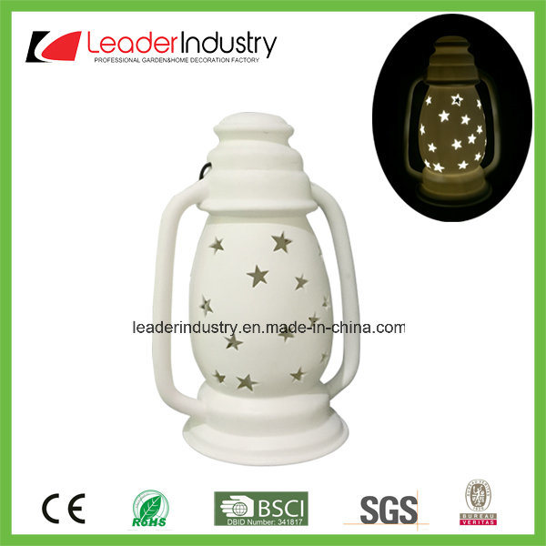 New Design White Ceramic Candle Holder with LED Color Changing for Christmas Ornament