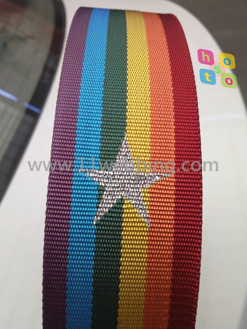 Rainbow Five-Pointed Star Jacquard Fashtion Nylon Webbing for Garment Accessories