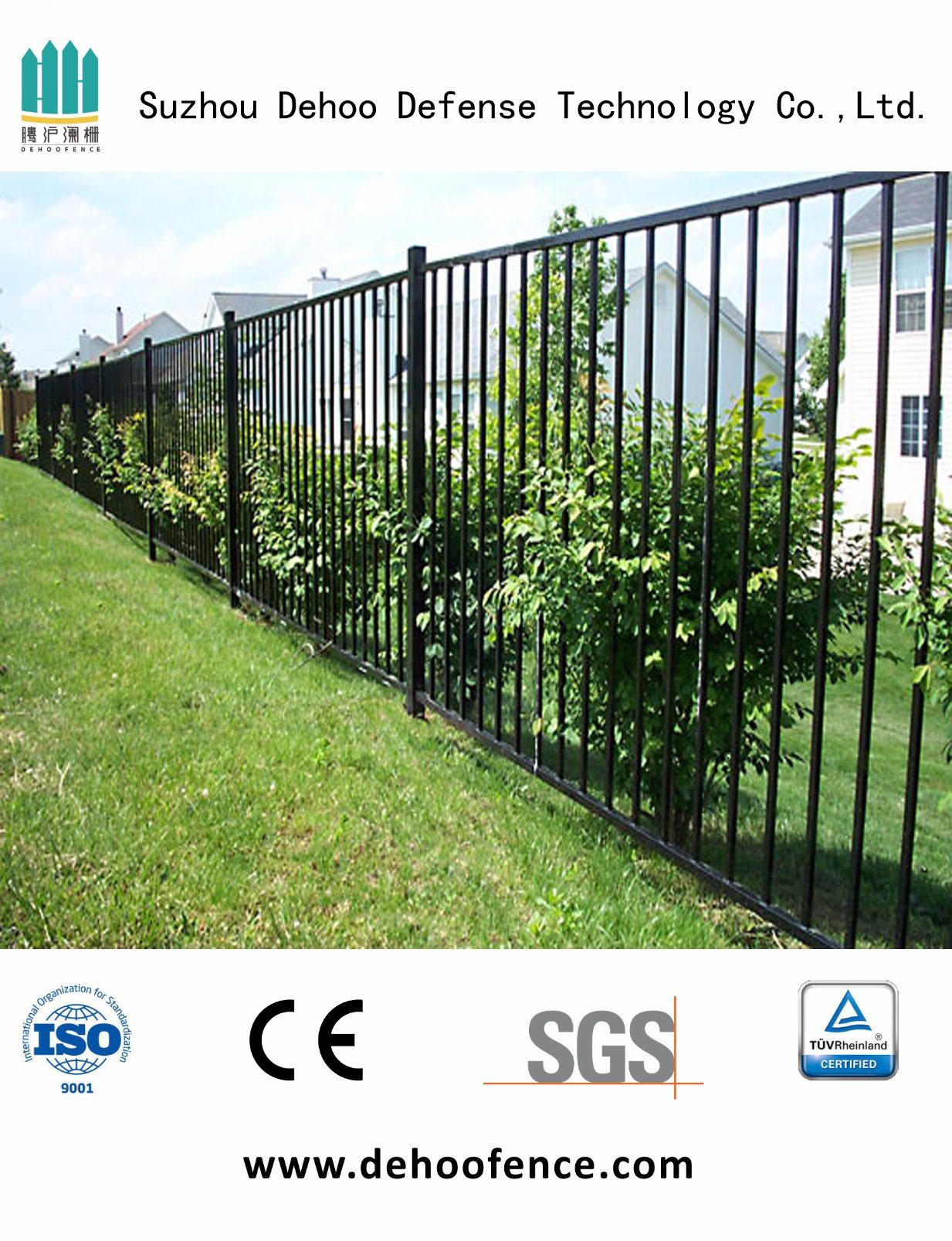 High Black Wrought Iron Graden Fence for Protection and Decoration