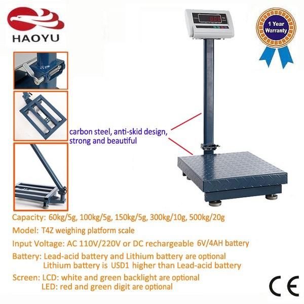T4z Weighing Indicator Carbon Steel Frame Platform Scale