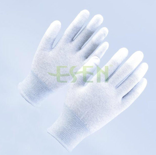 High Quality ESD Fingertip PU Coated Gloves, Fingertip Fit Gloves with Carbon Fiber