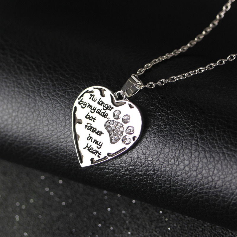 Fashion Crystal Paw Print Forever in My Heart Charm Necklace Dog Cat Jewelry Gift