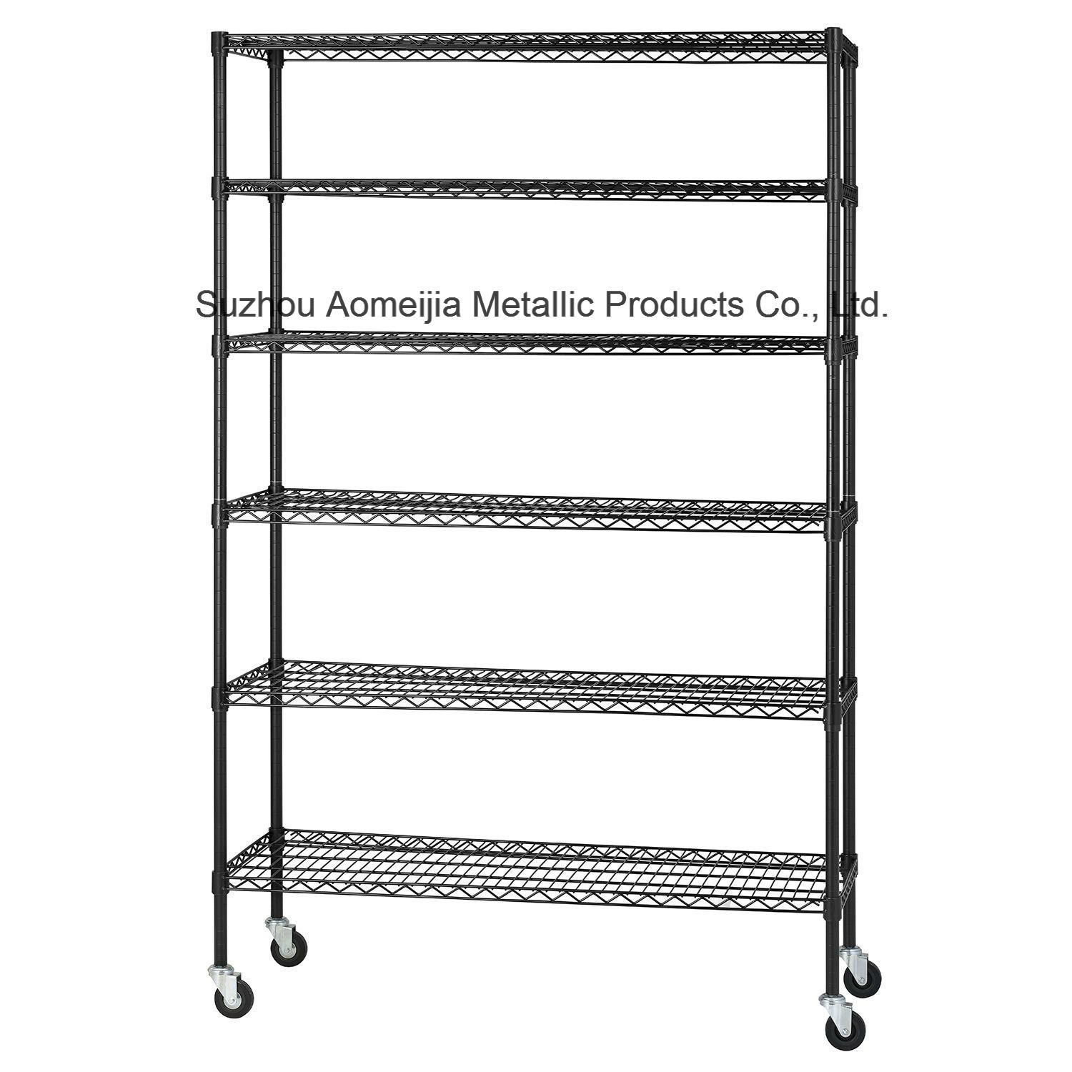 Amj481872b6w 6tier Black Wire Shelving with 4′′ Wheels