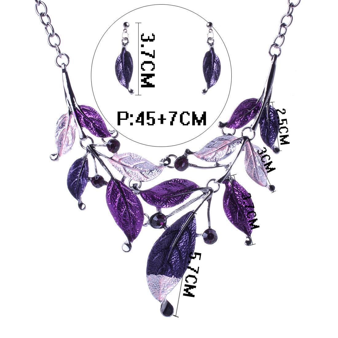 Fashion Leaves Diamond Statement Choker Necklace Earring Set Jewelry
