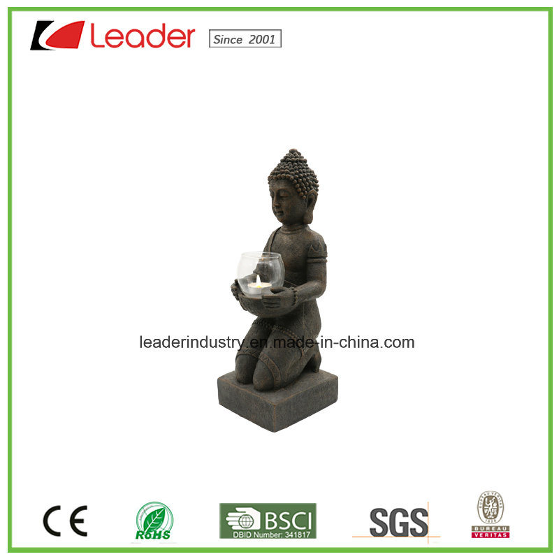 Polyesin Buddha Statue with Candle Holder for Home and Garden Decoration