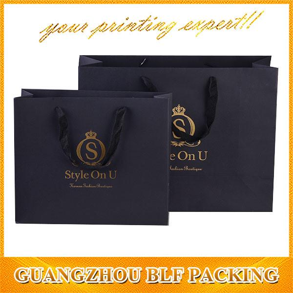 Printed Black Paper Packaging Shopping Gift Bag