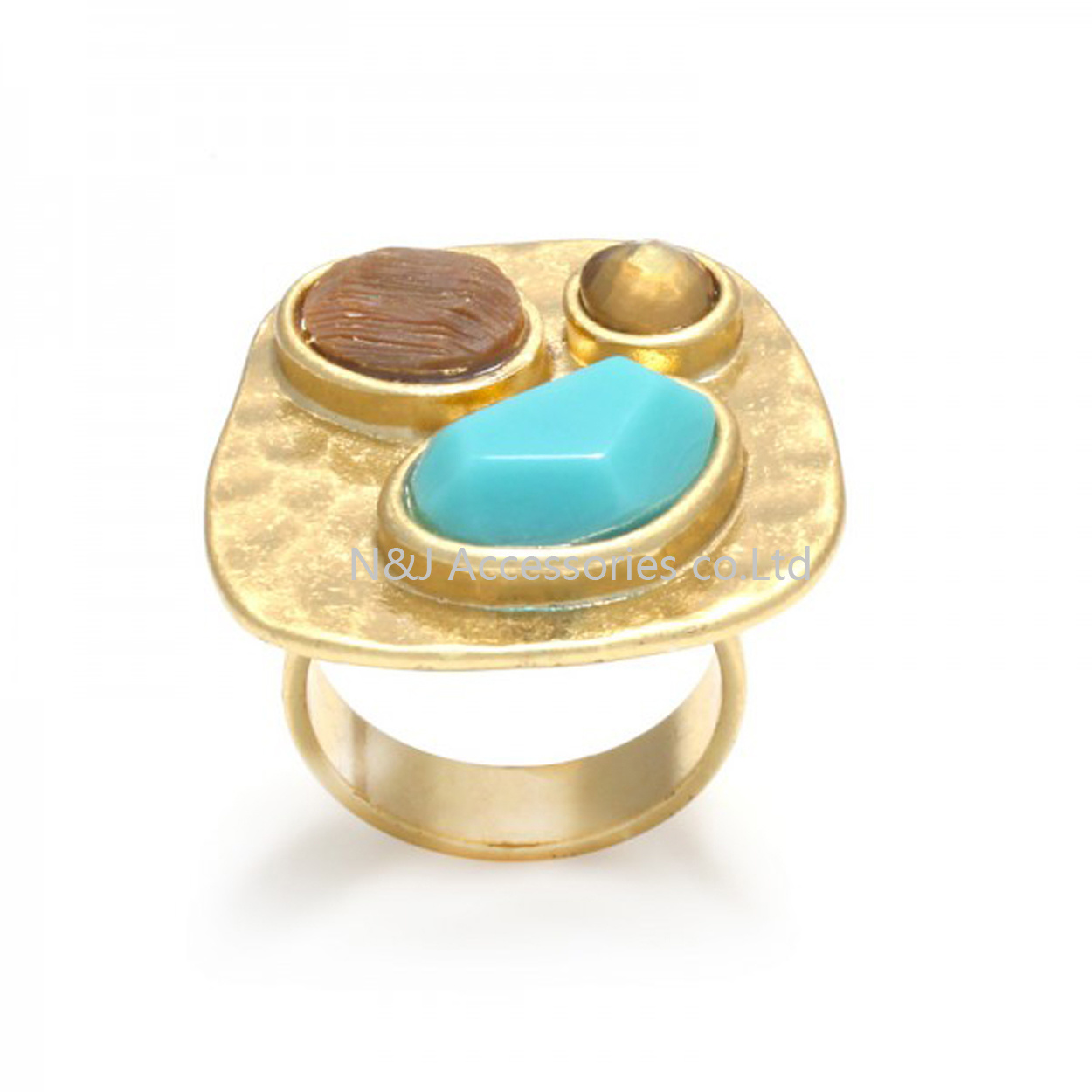 Wholesale Natural Stone Alloy Fashion Jewelry Ring Retro Gold Plated Lady′s Rings