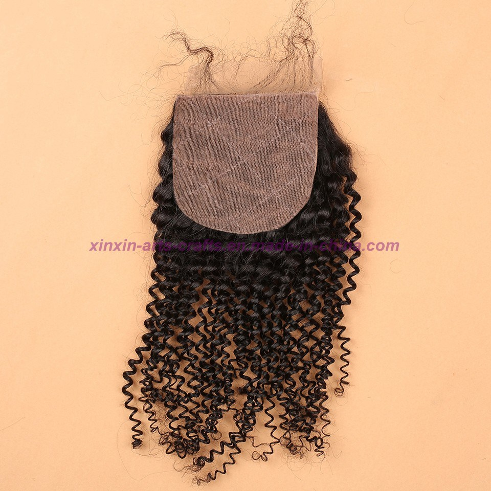 8A Malaysian Virgin Hair with Silk Base Closure Kinky Curly with Silk Base Closure Kinky Curly Virgin Hair with Closure