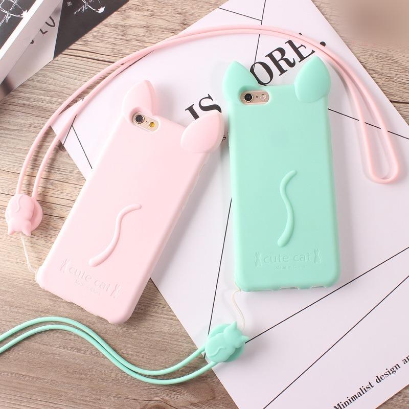 Cute Cat Soft TPU with Layard Phone Case for iPhone
