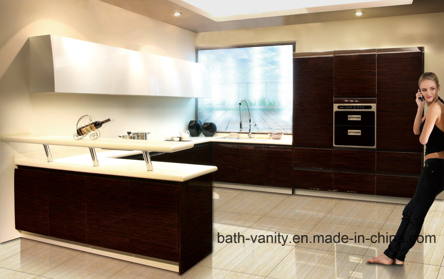 Veneer with Lacquer Kitchen Carbinet