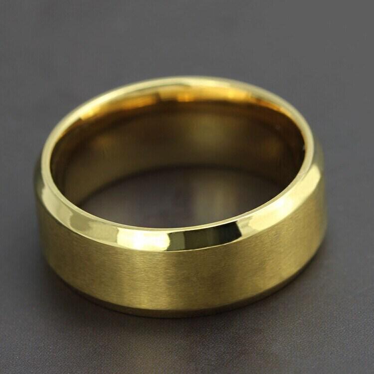 Titanium Stainless Steel Simple 18k Gold Fashion Designer Man Rings Jewelry