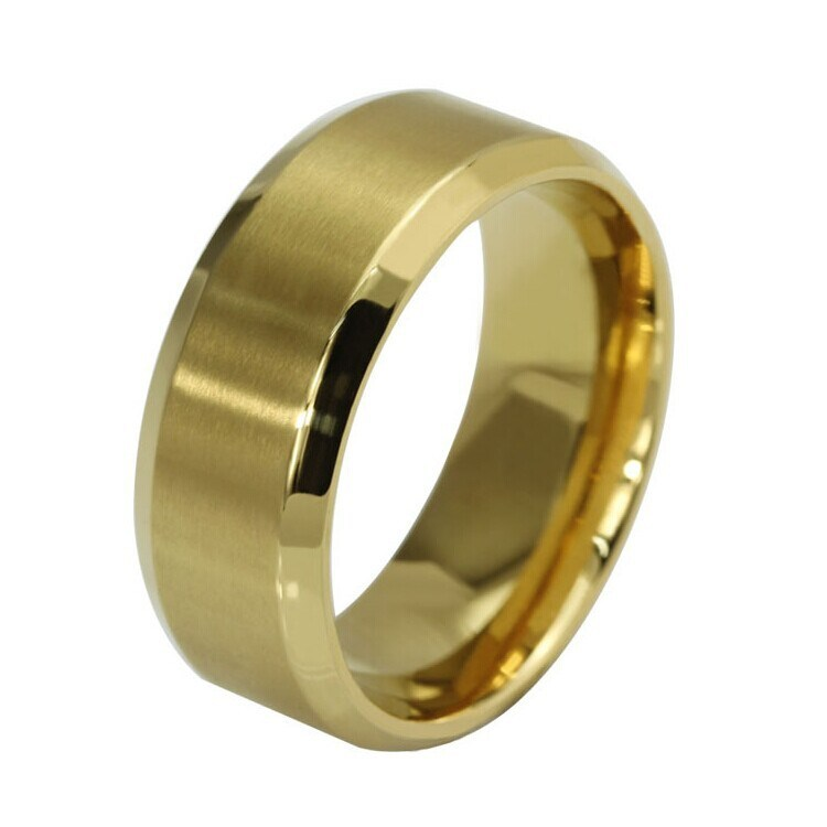 Titanium Stainless Steel Simple 18k Gold Fashion Designer Man Rings Jewelry