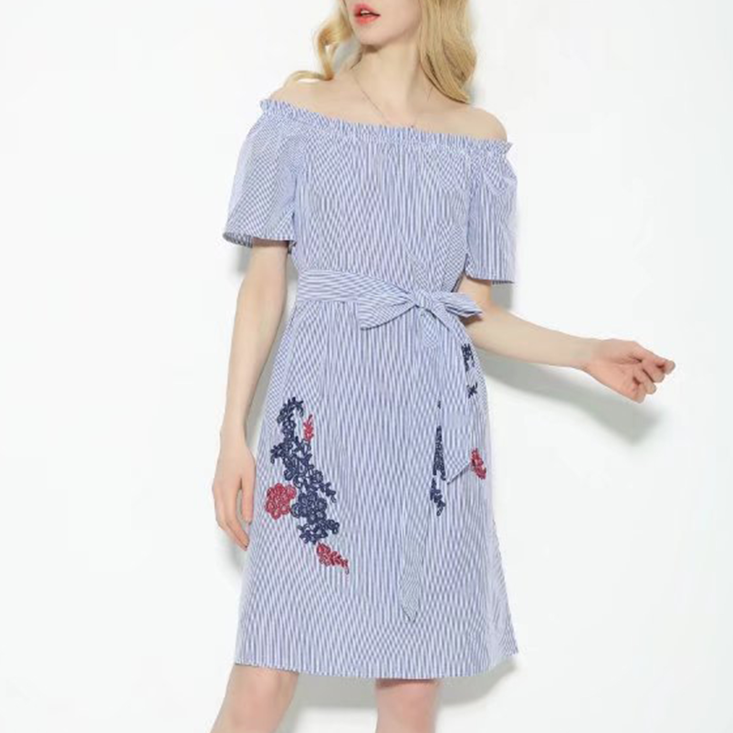 Fashion Women Flower Embroidery off Shoulder Stripe Bandage Dress