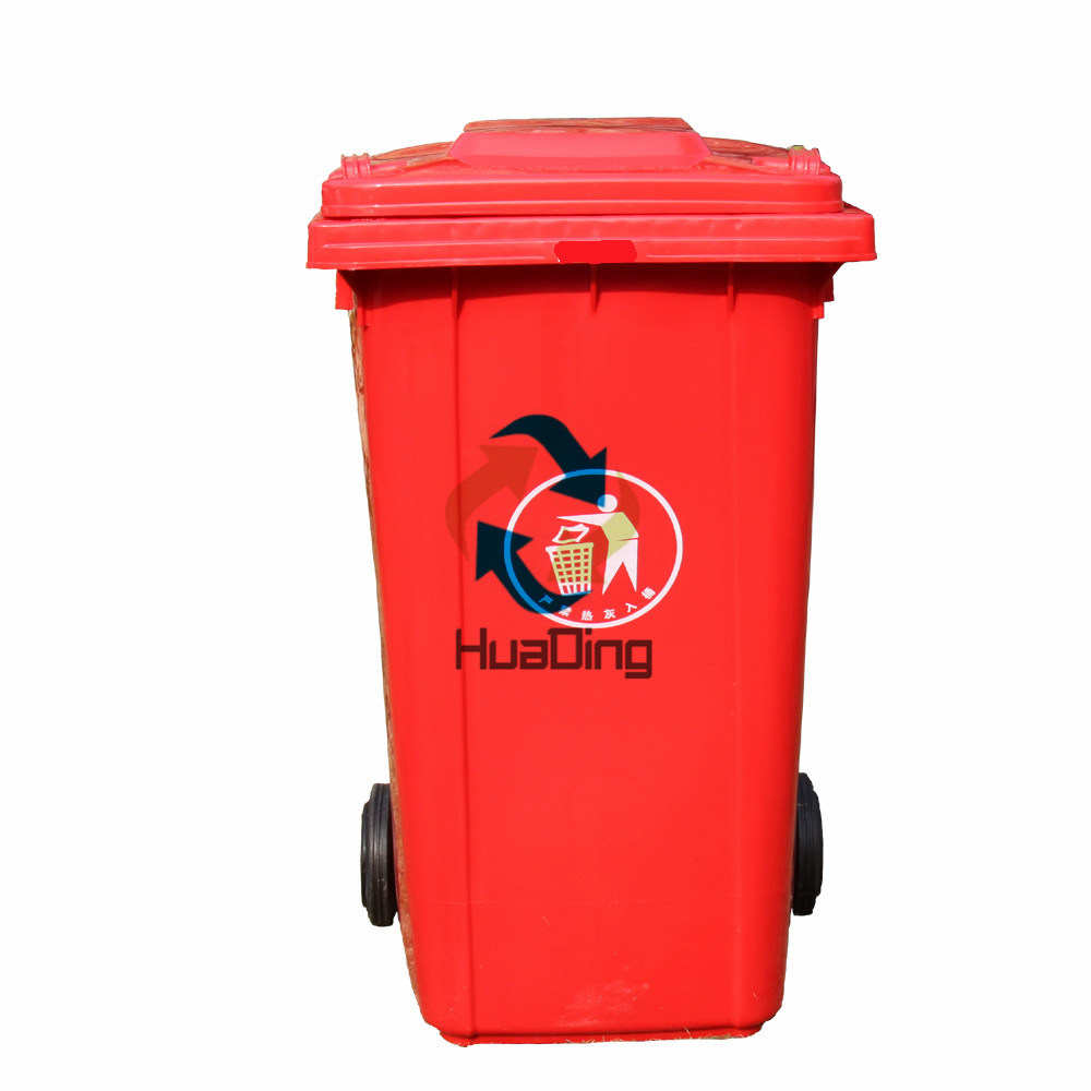 240L Plastic Garbage Dustbin Rubber Wheel Trash Can for Outdoor